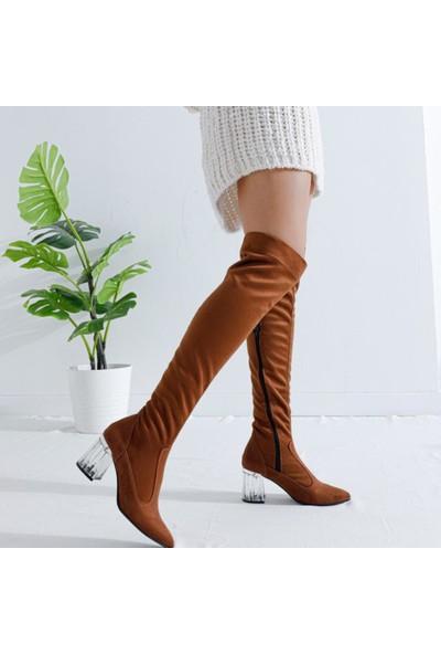 Limoya Alena Taba Süet Streç Kısa Şeffaf Topuklu Dizüstü Çorap Çizme (Sivri Burun)