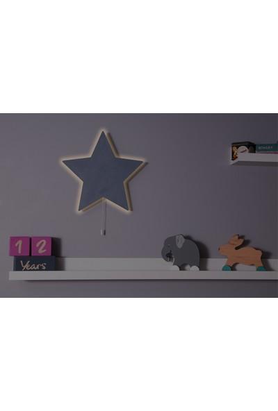 Hepsi Tedarik Gri Yıldız Gece Lambası Dekoratif Çocuk Odası Duvar Aydınlatma