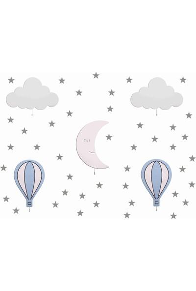 Hepsi Tedarik Mavi Balonlu 5'li Ahşap Gece Lambası Seti Gümüş Gri Sticker Hediyeli