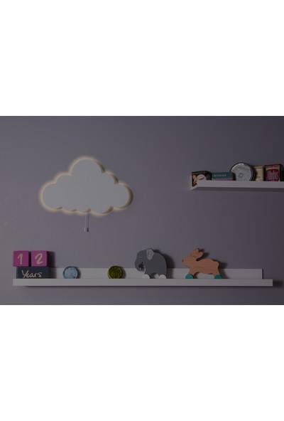 Hepsi Tedarik Beyaz Ahşap Bulut Gece Lambası Dekoratif Çocuk Odası Duvar Aydınlatma