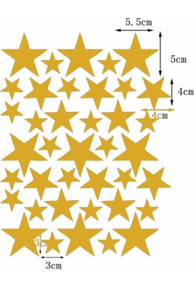 Hepsi Tedarik Üçlü Ahşap Duvar Aydınlatma Seti 100 Gold Yıldız Sticker Hediyeli
