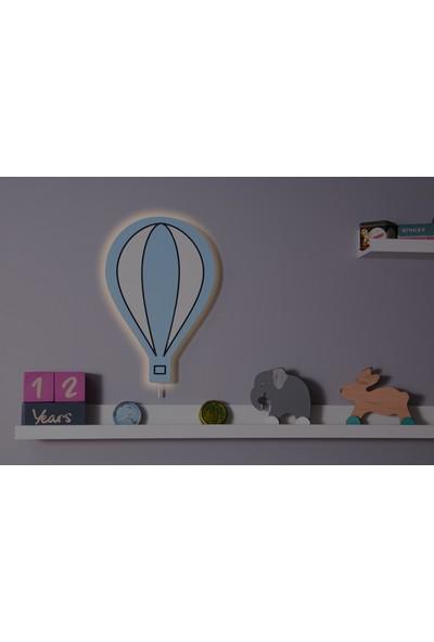 Hepsi Tedarik Mavi Balon Ahşap Gece Lambası Dekoratif Çocuk Odası Duvar Aydınlatma