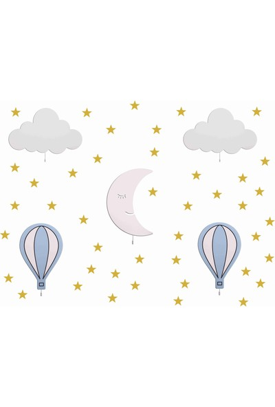 Hepsi Tedarik Mavi Balonlu 5'li Ahşap Gece Lambası Seti Gold Altın Sarı Sticker Hediyeli