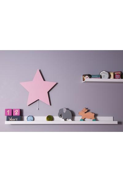 Hepsi Tedarik Pembe Yıldız Gece Lambası Dekoratif Çocuk Odası Duvar Aydınlatma