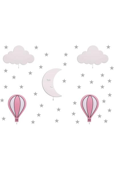 Hepsi Tedarik Pembe Balonlu 5'li Ahşap Gece Lambası Seti Gümüş Gri Sticker Hediyeli