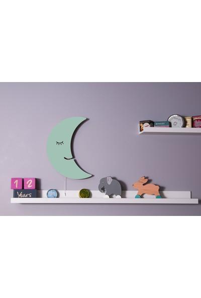 Hepsi Tedarik Bebek Yeşili Ahşap Aydede Gece Lambası Dekoratif Çocuk Odası Duvar Aydınlatma Mint Lamba