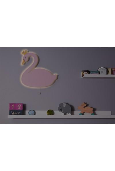 Hepsi Tedarik Ahşap Kuğu Gece Lambası Dekoratif Çocuk Odası Duvar Aydınlatma Tip2