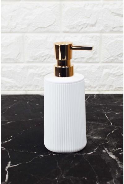 Sepetçi Baba Çizgi Porselen Sıvı Sabunluk Beyaz