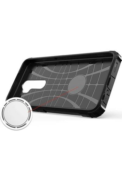 Herdem Oppo A5 2020 Kılıf Çift Katmanlı Zırh Kırmızı