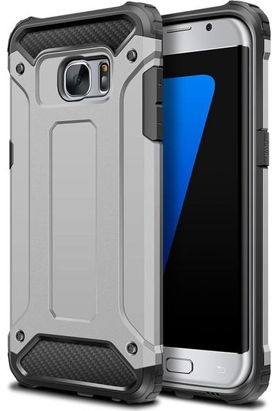 Herdem Samsung Galaxy S7 Edge Kılıf Çift Katmanlı Zırh Gümüş