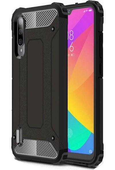 Herdem Xiaomi Mi A3 Kılıf Çift Katmanlı Zırh Siyah