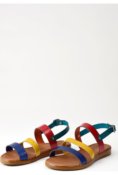 Uniquer Kadın Deri Sandalet 101354U 200 Multi