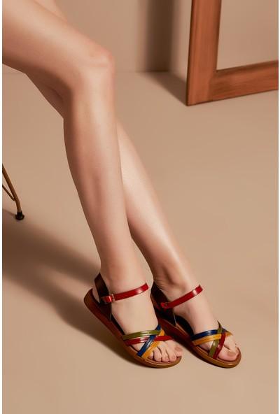 Uniquer Kadın Deri Sandalet 101354U 218 Multi