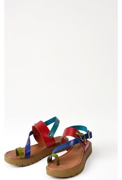Uniquer Kadın Deri Sandalet 101354U 311 Multi