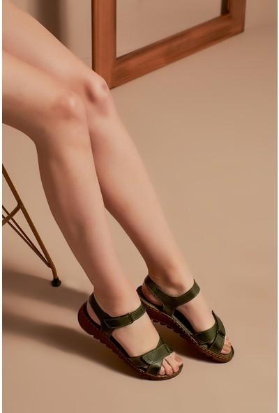 Ziya Kadın Deri Sandalet 101354 041 Hakı
