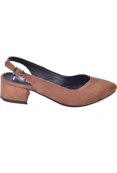Ayakland 510-74 Süet 3 Cm Topuk Kadın Sandalet Ayakkabı Taba