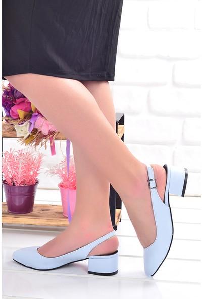 Ayakland 510-74 Cilt 3 Cm Topuk Kadın Sandalet Ayakkabı Mavi