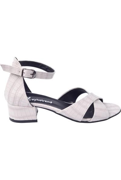Ayakland 352-08 Parma 3 Cm Topuk Kadın Sandalet Ayakkabı Vizon