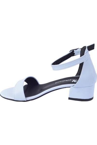 Ayakland 352-05 Cilt 3 Cm Topuk Kadın Sandalet Ayakkabı Beyaz