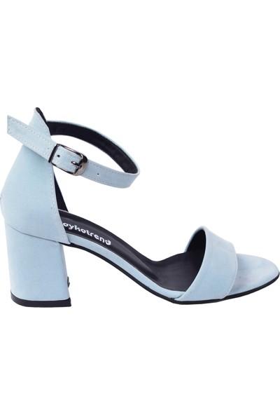 Ayakland 2013-05 Süet 7 Cm Topuk Kadın Sandalet Ayakkabı Mavi