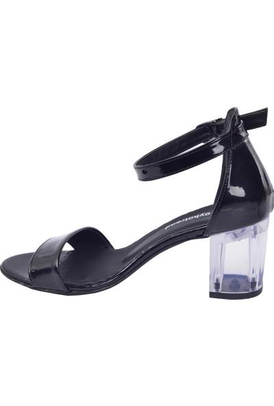 Ayakland 2013-05 Rugan Şeffaf 7 Cm Topuk Kadın Sandalet Ayakkabı Siyah