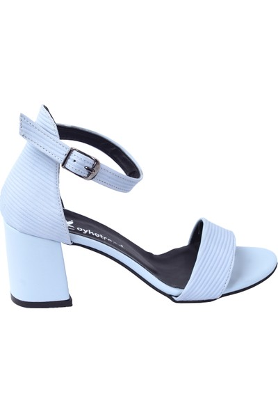 Ayakland 2013-05 Fitilli 7 Cm Topuk Kadın Sandalet Ayakkabı Ten