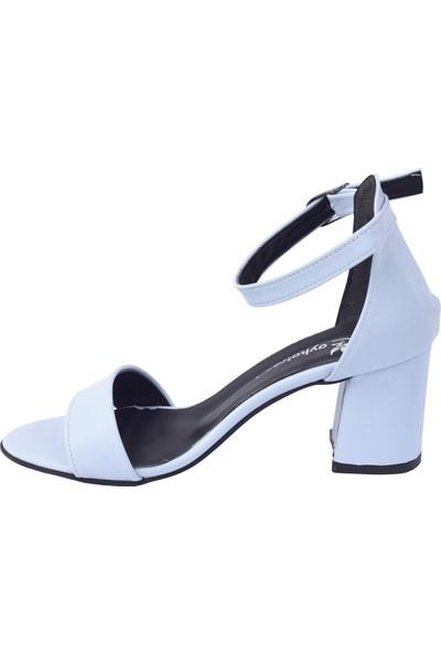 Ayakland 2013-05 Cilt 7 Cm Topuk Kadın Sandalet Ayakkabı Beyaz