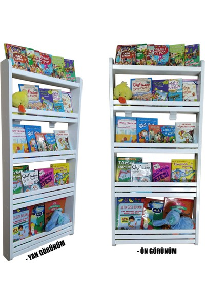 Emdief Home - Montessori Kitaplık 4 Raflı - Anaokulu Kitaplığı - Kreş Kitaplığı