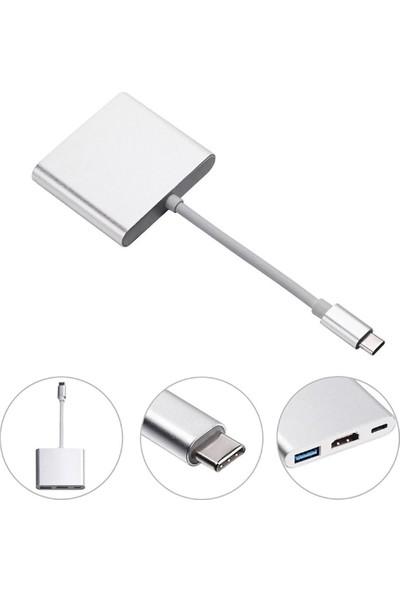 Bix BX13HB Type-C To USB 3.0 4K Ultra Hd HDMI 3 In1 Dönüştürücü Adaptör