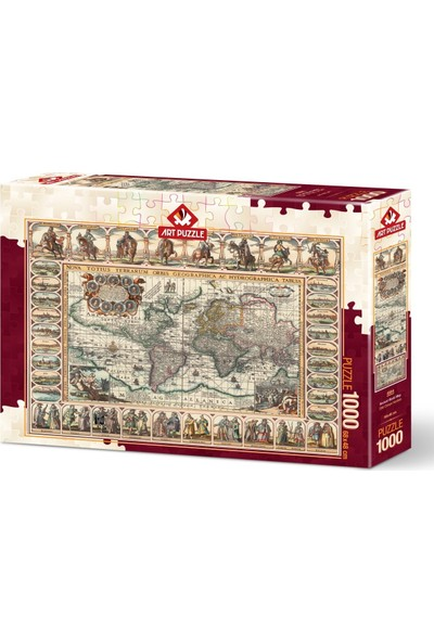Art Puzzle Eski Dünya Haritası 1000 Parça Puzzle