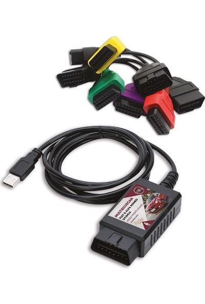 Fiat Araç Arıza Tespit Cihazı Usb + 4'lü Kablo Seti Multiecuscan