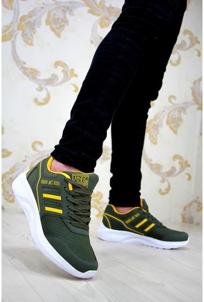 Moda Güneş Erkek Spor Haki Yeşil - A466 Kalın Taban Siyah Spor Ayakkabı