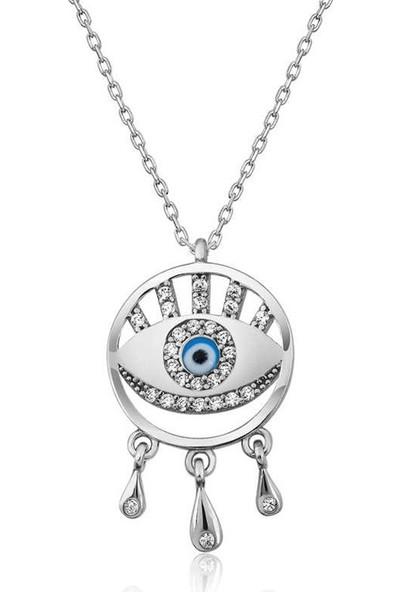 Lipoza Gümüş Nazarlı Göz Kolye