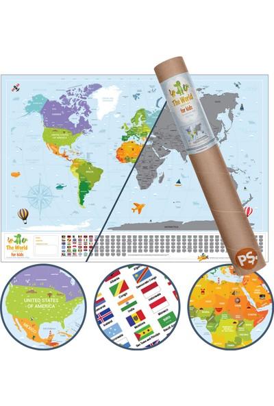 Scratch Map Kids Eyaletli Kazınabilir Eğitici Öğretici Çocuk Dünya Haritası En Büyük Boy 70 × 100 cm
