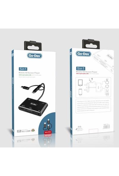 Go Des GD-8762 5in1 Mobile HD Screen Çevirici ve Çoklayıcı HUB