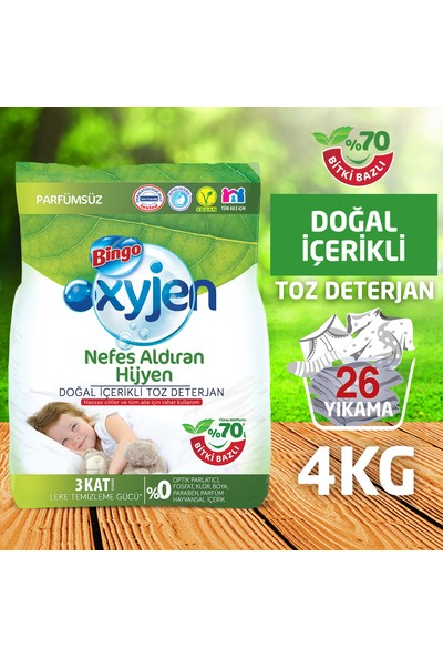 Bingo Oksijen Doğal İçerikli Toz Çamaşır Deterjanı 4 Kg