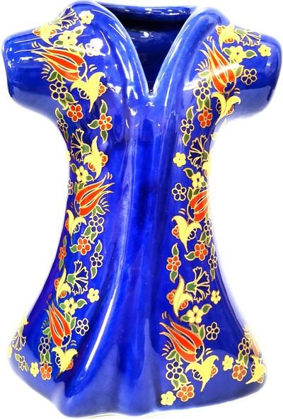Otogar Çini Seramik Kaftan Seti 3'lü Yaldızlı Lacivert Renk