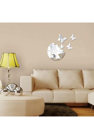 Dez Ay ve Kelebekler Dekoratif Ayna Akrilik Gümüş Renkli