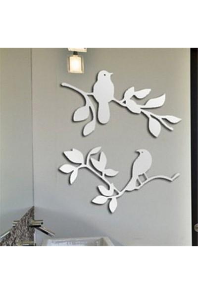 Dez Modern Ev Dekoru Kuş Desen 2 Parçalı Akrilik Ayna