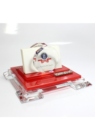 Ikiyıldız Kristal AS050 Masaüstü Taşlı Kristal Kartvizitlik Kırmızı
