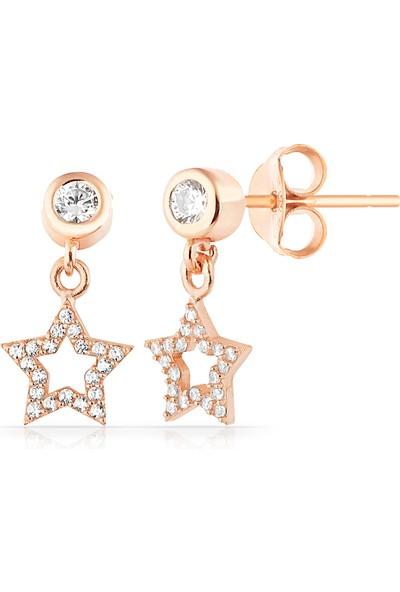 Rachon Azuris 925 Ayar Gümüş Taşlı Yıldız Mini Küpe