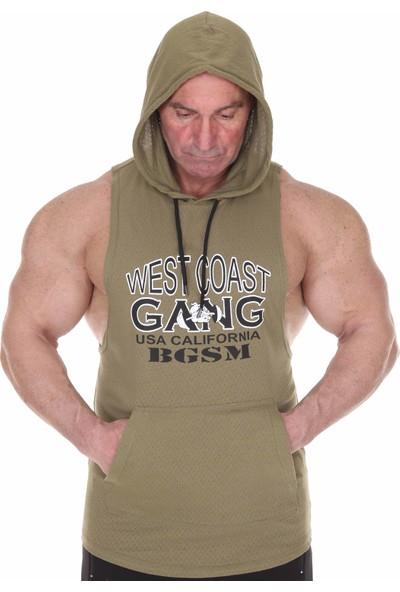 Big Sam Kapüşonlu Antrenman Atleti Kolsuz Fitness T-Shirt Haki 2305