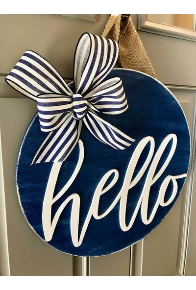 Enissimo Ahşap Kapı Süsü Hello Kurdeleli Dış Kapı Çelenk Mavi