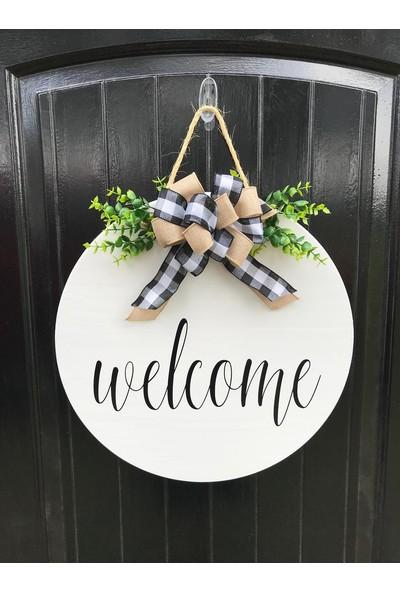Enissimo Ahşap Hoşgeldin Kapı Süsleri Ön Kapı Çelenk Beyaz