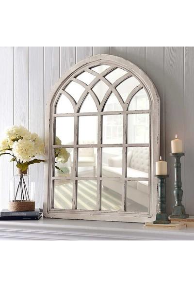 Beyma Home Eskitilmiş Beyaz Antika Ayna