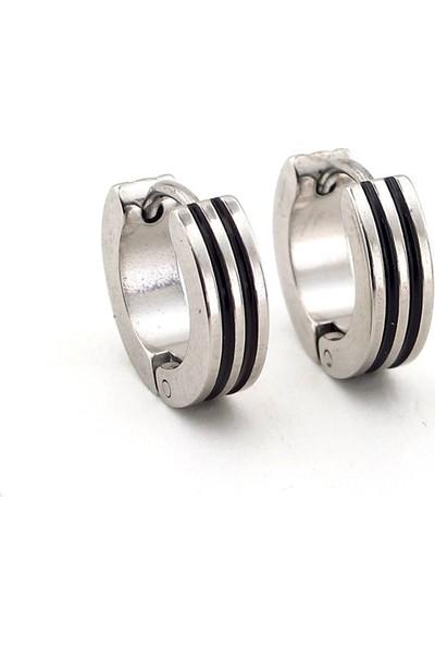 Siyah Çift Çizgili Gümüş Renk Çelik Erkek Halka Küpe E720