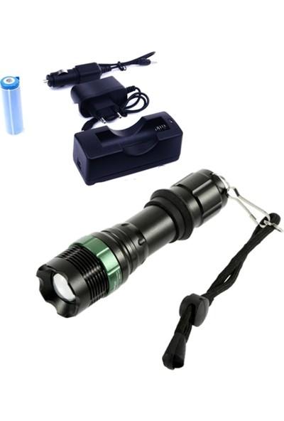 Yopigo GA-037 Ultra Güçlü 3 Modlu Metal Şarjlı El Feneri 3000 Lumens Q5 + Şarjlı Pil