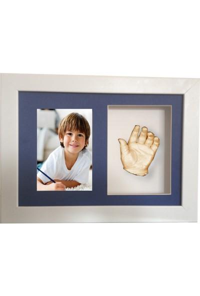 Küçük İzler Beyaz Çerçeveli Resimli - Aljinat ile 3 Boyutlu Çocuk El İzi Heykeli Kalıp Seti