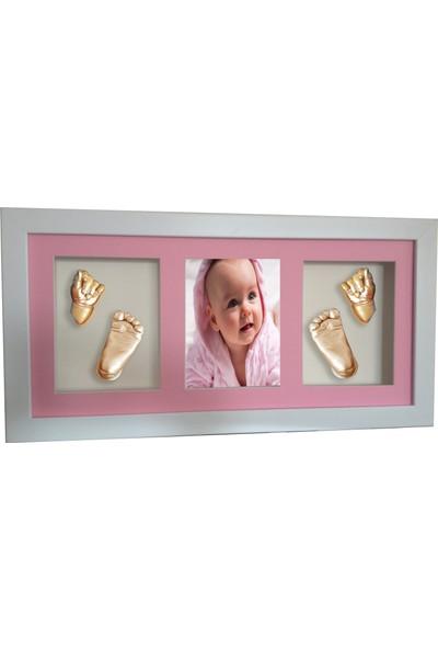 Küçük İzler Beyaz Çerçeveli Resimli 3 Bölmeli- Aljinat ile 3 Boyutlu Bebek 2 El - 2 Ayak İzi Heykeli Kalıp Seti
