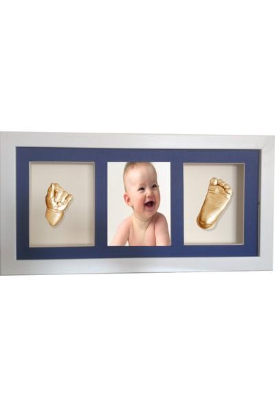 Küçük İzler Beyaz Çerçeveli Resimli 3 Bölmeli - Aljinat ile 3 Boyutlu Bebek El-Ayak İzi Heykeli Kalıp Seti